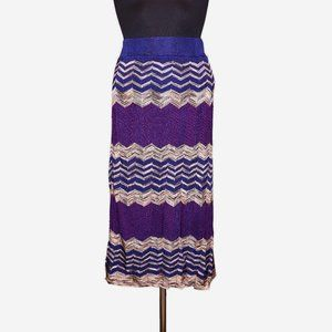 Loft Chevron Knit Midi Skirt Sz S